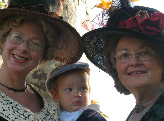 Pictured right to left, is my mom Suzanne Lawrence, my son, and my self from 2004. This was a publicity photo for a Living History Performance we did.