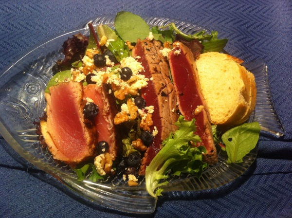 Wine Predator seared ahi salad