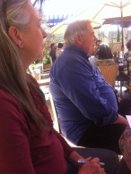 Sue and Steve Pepe listen to winemaker Megan