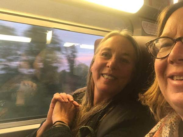 Sue and Gwendolyn on the TGV to Champagne -- super fast! Only 30 minutes from the main Paris airport to Reims!