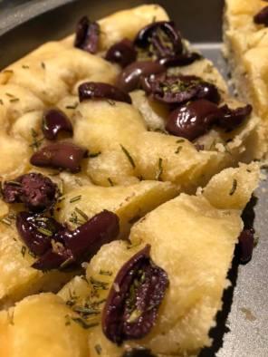 Sue's homemade olive focaccia bread