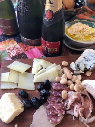 cheese board with bubbles