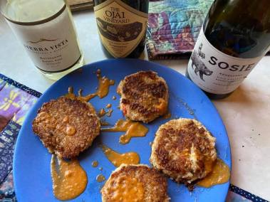 3 roussanne with risotto crab cakes
